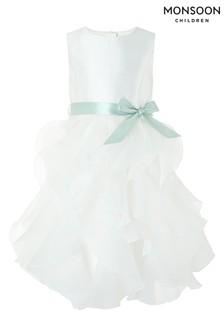 Кремовое платье с оборками из органзыMonsoon Cannes