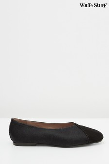 White Stuff Black Betsy Square Toe Ballerinas