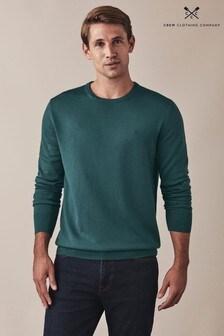 Зеленый джемпер из мериносовой шерсти с круглым вырезом Crew Clothing Company