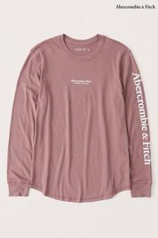 חולצת טי ארוכה שלAbercrombie & Fitch בצבע ורוד