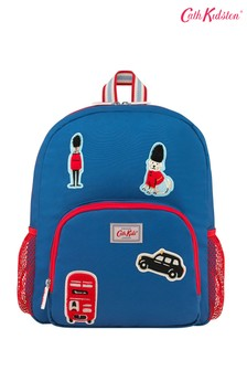 Cath Kidston® Blue Classic Large Rucksack With Badges Solid