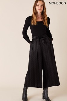 מכנסי קרופ שלMonsoon מבד סאטן מנוקד