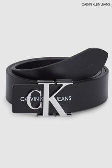 Calvin Klein Jeans黑色壓花皮帶