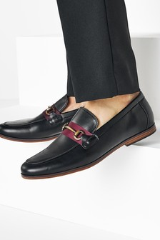 Contrast Tape Snaffle Loafers