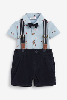 Bear Print Shirt Body, Cord Shorts With Braces And Bow Tie (0mths-2yrs)