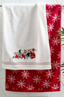 Set of 2 Christmas Hand Towels