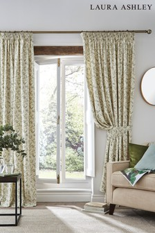 Laura Ashley Hedgerow Willow Leaf Pencil Pleat Curtains