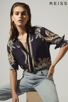 Reiss Blue Tiff Feather Printed Shirt