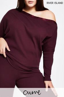 River Island Plus Purple Medium Asymmetric Off Shoulder Sweater