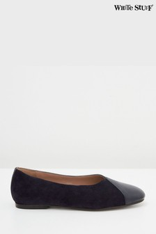 White Stuff Navy Betsy Square Toe Ballerinas
