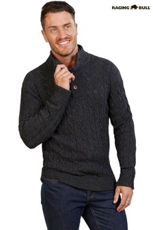 Raging Bull Grey Button Neck Cable Knit Top
