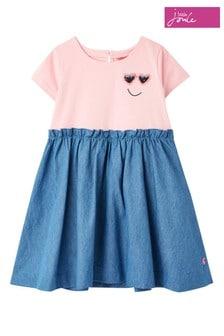 Joules Blue Hampton Paperbag Waist Dress
