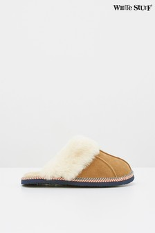 White Stuff Tan Suede And Shearling Slipper Mules