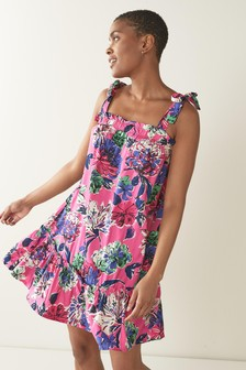 Tie Sleeve Viscose/Linen Mix Mini Dress