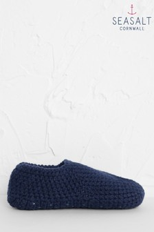 Seasalt Blue Quiet Room Slipper Socks