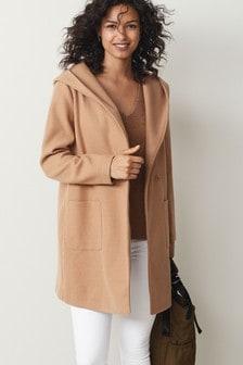 Manteau à capuche style cardigan