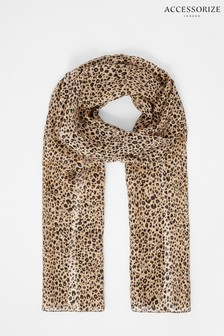 Accessorize Leopard Print Scarf In Pure Silk