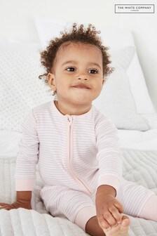 The White Company Pink Stripe Zip Sleepsuit