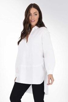 חולצת כותנה לבנה עם תפר למידות גדולות שלLive Unlimited