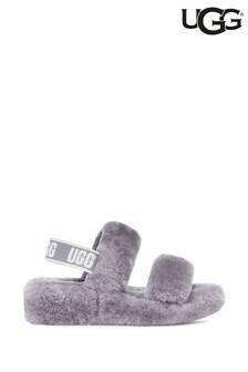 UGG Oh Yeah Flauschige Slipper-Sandalen, Grau