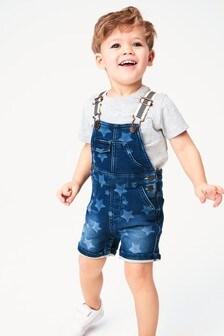 Трикотажный джинсовый комбинезон со звездами (3 мес.-7 лет)