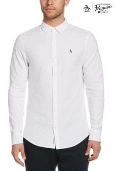 חולצתאוקספורד מכותנהשלOriginal Penguin בגזרהצרה בלבן