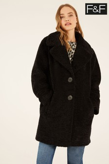 F&F Black Chenille Teddy Coat