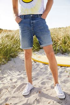 Short en denim stretch authentique style vintage