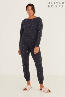 Oliver Bonas Foiled Star Print Navy Blue Pyjama Set