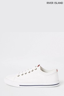 River Island White Tape Canvas Trainers