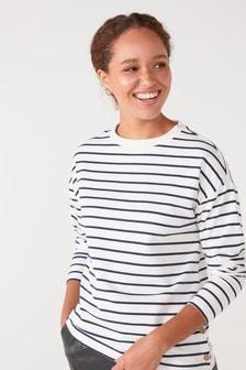Button Stripe Sweatshirt