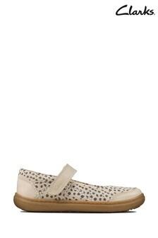 Pantofi pentru copii mici cu baretă Clarks Flash albi