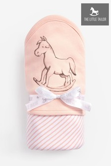 The Little Tailor Pink Rocking Horse Jersey Lined Blanket