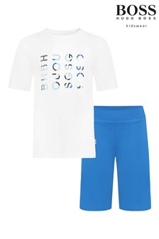 Biało-niebieski zestaw BOSS z logo: T-shirt i szorty