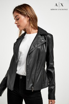 Motorkářská bunda Armani Exchange z eko kůže