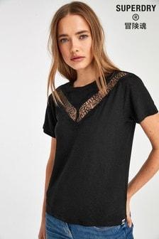 Superdry T-Shirt mit Spitze, Schwarz