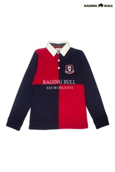 Raging Bull Blue Long Sleeved Quartered Rugby Top