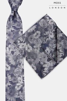 Moss London Navy & Silver Tonal Flower Tie & Pocket Square Set