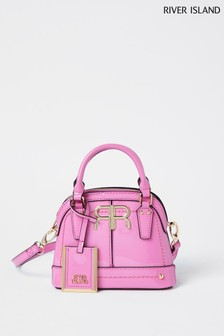 River Island Bright Pink Mini Patent Kettle Bag