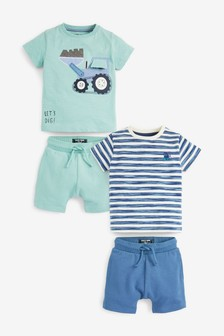 2 Pack T-Shirt And Shorts Set (3mths-7yrs)