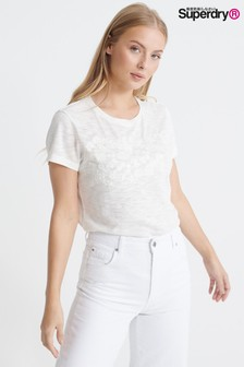 Superdry White Embroidered T-Shirt