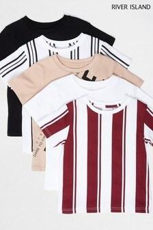 River Island Stone Light Mb Multipack Stripe Print T-Shirts 5 Pack