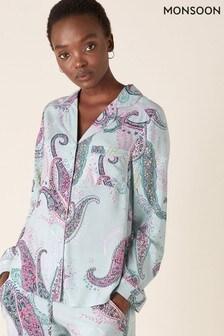 Monsoon Blue Paisley Print Pyjama Shirt