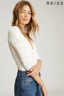 Reiss White Valeria Long Sleeved Plunge Bodysuit