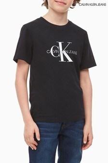Čierne džínsové tričko s logom Calvin Klein