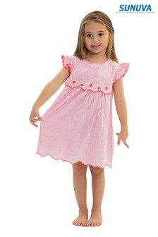Sunuva Mädchen Strawberry Crush Kleid mit Zipfelsaum, Pink