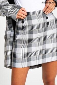 River Island Cream Button Front Short Skirt