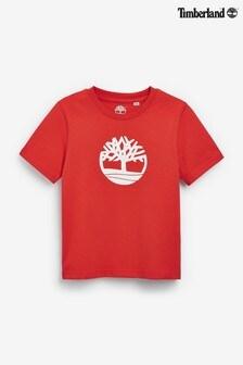 Czerwona koszulka Timberland® z logo