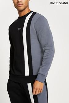 River Island黑色修身Ultimate方格圖案圓領衫