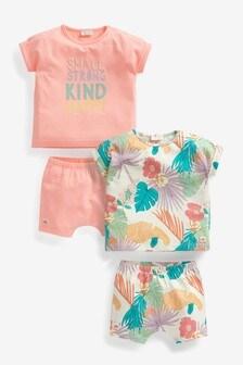 סט 4 חלקים של מכנסיים קצרים וחולצת טי עם כיתוב טרופי (0 חודשים עד גיל 2)